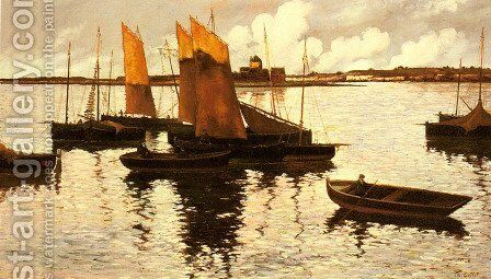 Sunset over the Sails, 1892 by Charles Cottet - Reproduction Oil Painting