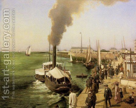 A View of Le Havre by E. Parent - Reproduction Oil Painting