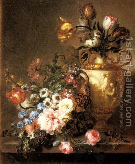 A Still Life with Assorted Flowers in a Basket and Tulips in a Classical Vase on a Ledge by Ange Louis Lesourd-Beauregard - Reproduction Oil Painting