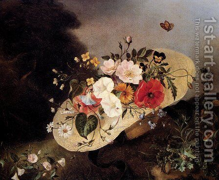 Still Life With Assorted Flowers In A Hat by Ange Louis Lesourd-Beauregard - Reproduction Oil Painting