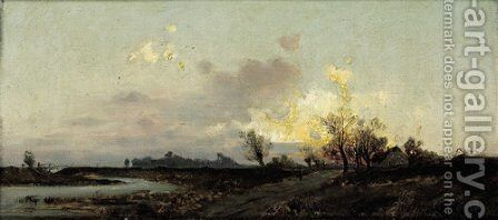 An extensive landscape in evening twilight by Emil Jakob Schindler - Reproduction Oil Painting