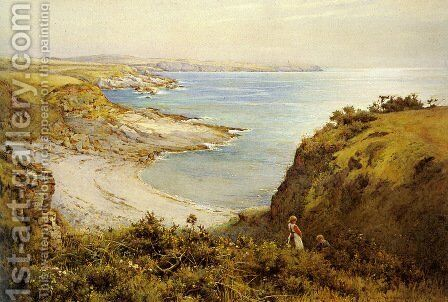 Picking Flowers above the Beach by Harold Swanwick - Reproduction Oil Painting