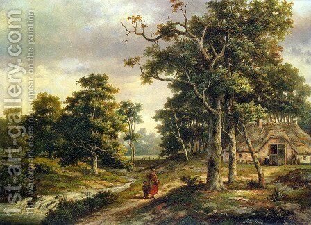 Peasant Woman and a Boy in a Wooded Landscape by Hendrik Barend Koekkoek - Reproduction Oil Painting