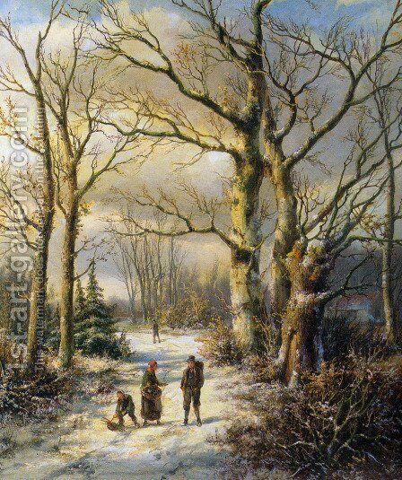 Woodgatherers in a Winter Forest by Hendrik Barend Koekkoek - Reproduction Oil Painting