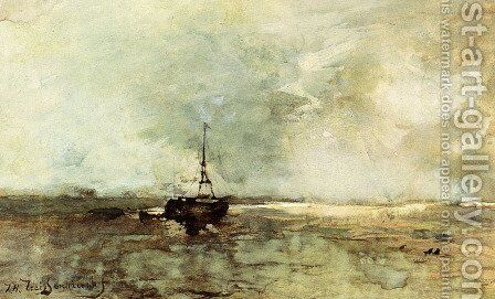 A Bomschuit On The Beach by Jan Hendrik Weissenbruch - Reproduction Oil Painting