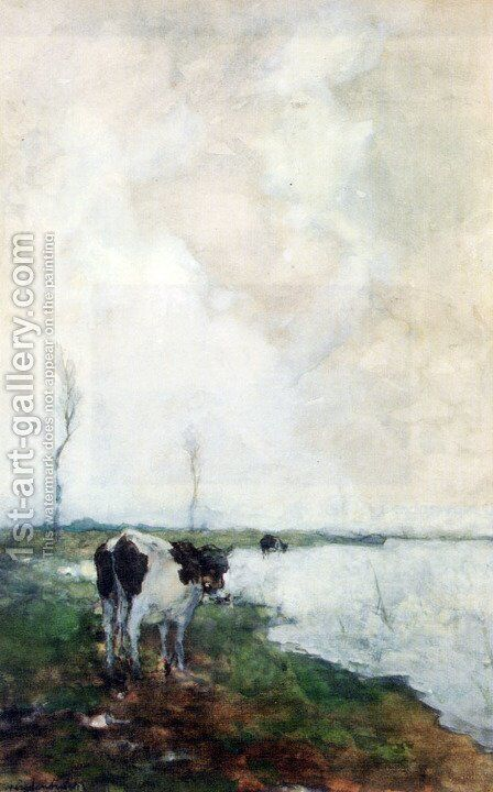 A Cow Standing By The Waterside In A Polder by Jan Hendrik Weissenbruch - Reproduction Oil Painting