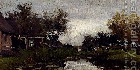 Farmhouses On The Waterfront by Jan Hendrik Weissenbruch - Reproduction Oil Painting