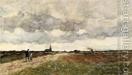 Figures On A Country Road, A Church In The Distance by Jan Hendrik Weissenbruch - Reproduction Oil Painting