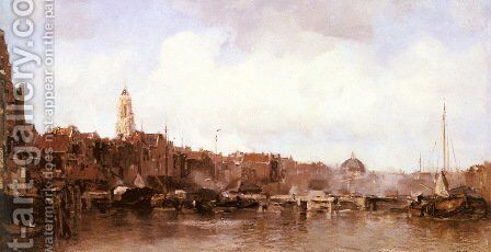 A View of a Harbor Town by Jacob Henricus Maris - Reproduction Oil Painting