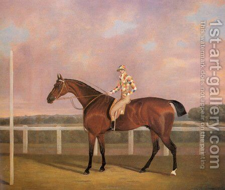 Memnon, a Chestnut Racehorse, with Jockey up by Clifton Tomson - Reproduction Oil Painting