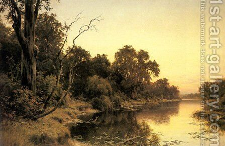A Backwater of the River Murray, South Australia by Henry James Johnstone - Reproduction Oil Painting