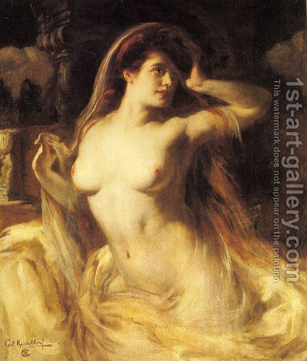 A Voluptuous Nude by Carl Krischeldorf - Reproduction Oil Painting