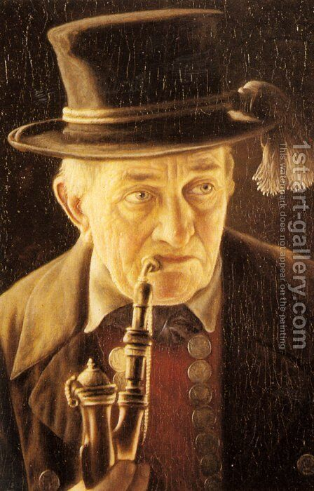 Portrait of an Elderly Swabian Man by Carl Heuser - Reproduction Oil Painting