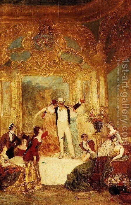 Une Soiree Chez La Paiva by Adolphe Monticelli - Reproduction Oil Painting