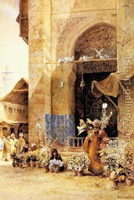 The Flower Market, Damascus by Charles Robertson - Reproduction Oil Painting