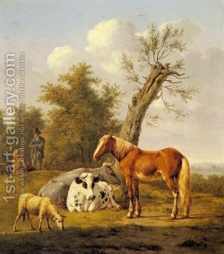 Cows, a Horse and a Sheep Resting by a Blasted Oak by Anthony Oberman - Reproduction Oil Painting