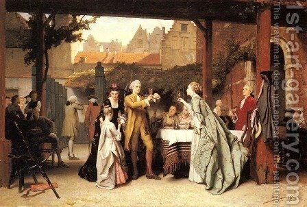 Toasting the Winner by Auguste Serrure - Reproduction Oil Painting