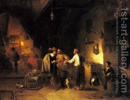 The Armor Shop by Adrien Ferdinand de Braekeleer - Reproduction Oil Painting