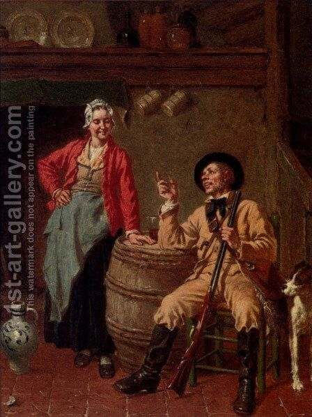 Refreshment After The Shoot by Jan David Col - Reproduction Oil Painting