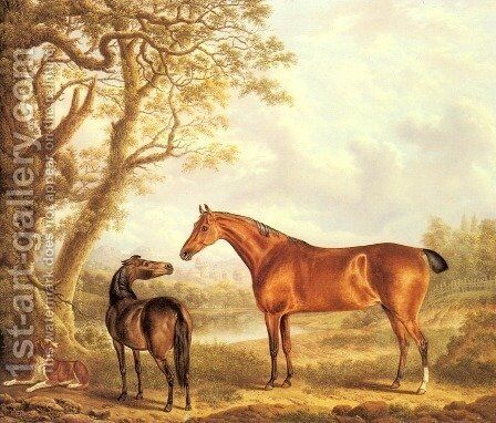 Hunters and a Spaniel in an Extensive Landscape by Charles Towne - Reproduction Oil Painting