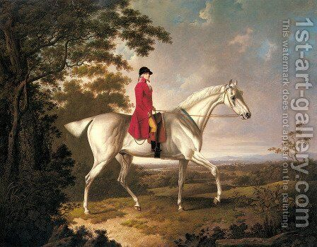 A Huntsman on a Grey Hunter in an Extensive Landscape by Charles Towne - Reproduction Oil Painting
