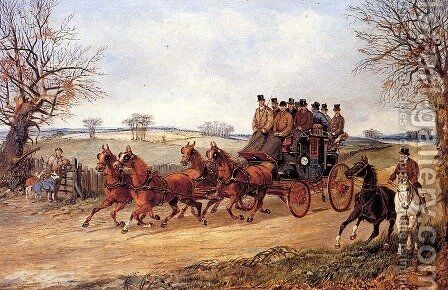 A Coach and Four on an Autumn Road by Henry Thomas Alken - Reproduction Oil Painting