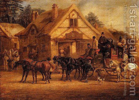 A Halted Coach by Henry Thomas Alken - Reproduction Oil Painting