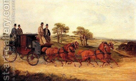 Mail Coaches on an Open Road by Henry Thomas Alken - Reproduction Oil Painting