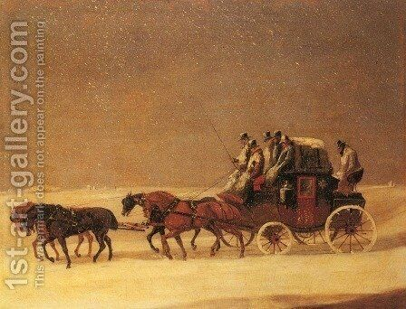 The Derby and London Royal Mail on the Open Road in Winter by Henry Thomas Alken - Reproduction Oil Painting