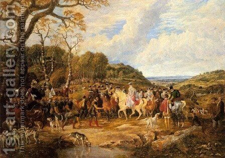 Queen Elizabeth and her Royal Entourage Riding to the Hunt by Dean Wolstenholme, Jr - Reproduction Oil Painting