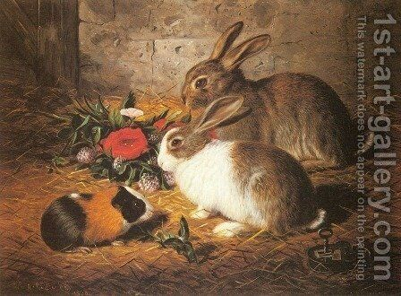 Escaped: Two Rabbits and a Guinea Pig by Alfred R. Barber - Reproduction Oil Painting