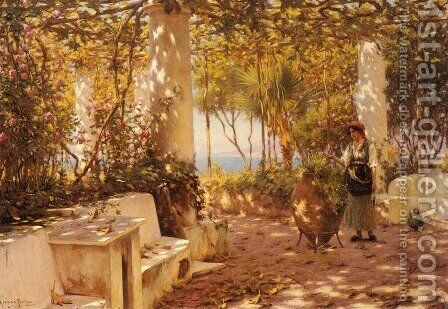 A Peasant Girl on a Sunlit Veranda by Horace Fisher - Reproduction Oil Painting