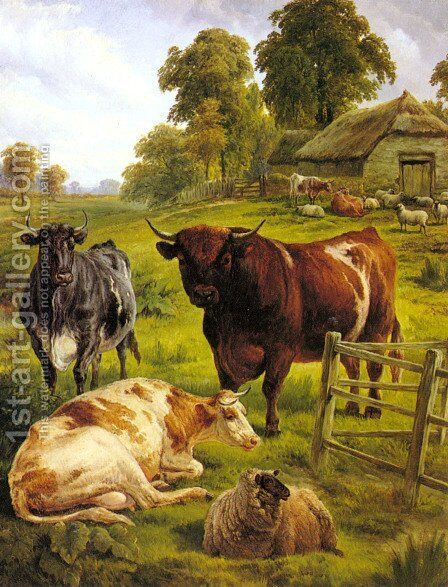 A Pedigree Bull by Charles Jones - Reproduction Oil Painting