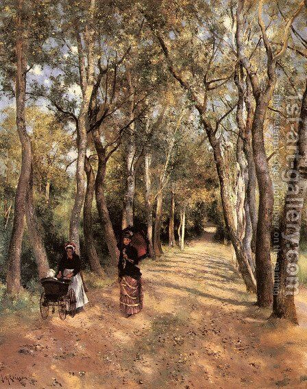 A Woodland Path In Haut Meudon by Johan Ericson - Reproduction Oil Painting