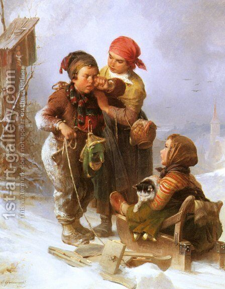 'Jetzt Ist Er Kaputt!' ('Now It's Broken!') by Jakob Grünenwald - Reproduction Oil Painting