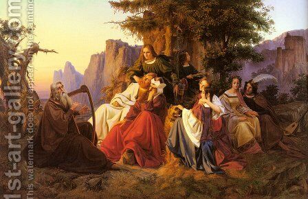 Der Barde Vor Der Königsfamilie (The Bard Before The Royal Family) by Anton Huxoll - Reproduction Oil Painting