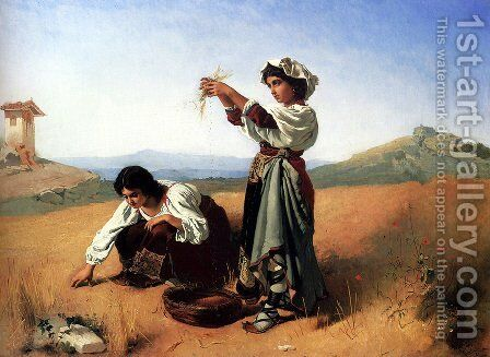 The Gleaners by Anton Romako - Reproduction Oil Painting