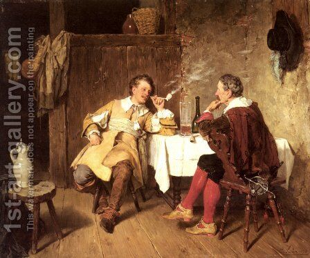 Gemütliche Unterhaltung (The Cosy Chat) by Carl Seiler - Reproduction Oil Painting