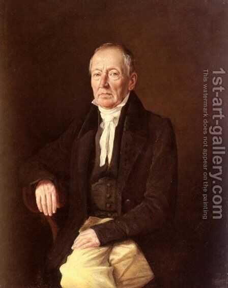 Franz Purschka, Pensionierter Linzer Oberpostamtskontrolleur (Portrait of Franz Purschka, Retired Postmaster of the City of Linz) by Johann Michael Neder - Reproduction Oil Painting
