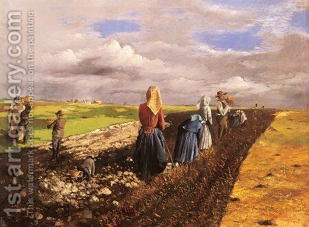 The Potato Harvest by Janos Pentelei-Molnar - Reproduction Oil Painting