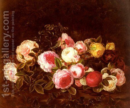 Still Life with Flowers by Bolle - Reproduction Oil Painting