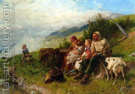 Travelers at Rest by Conrad Grob - Reproduction Oil Painting