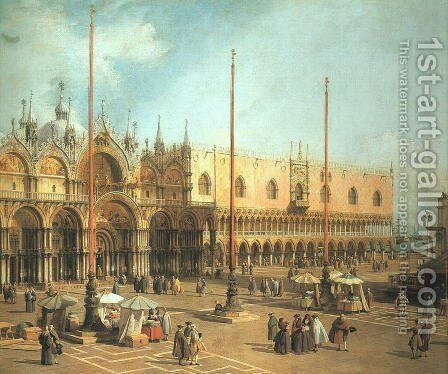 Piazza San Marco - Looking Southeast by (Giovanni Antonio Canal) Canaletto - Reproduction Oil Painting