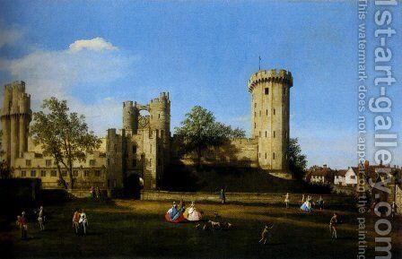 The Eastern Facade Of Warwick Castle by (Giovanni Antonio Canal) Canaletto - Reproduction Oil Painting