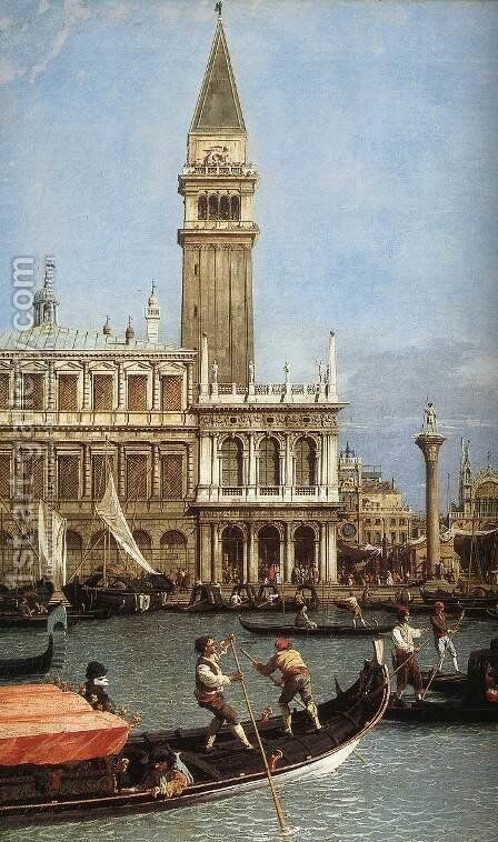 Return of the Bucentoro to the Molo on Ascension Day (detail) by (Giovanni Antonio Canal) Canaletto - Reproduction Oil Painting