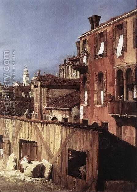 The Stonemason's Yard (detail) by (Giovanni Antonio Canal) Canaletto - Reproduction Oil Painting