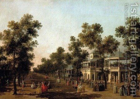 View Of The Grand Walk, vauxhall Gardens, With The Orchestra Pavilion, The Organ House, The Turkish Dining Tent And The Statue Of Aurora by (Giovanni Antonio Canal) Canaletto - Reproduction Oil Painting