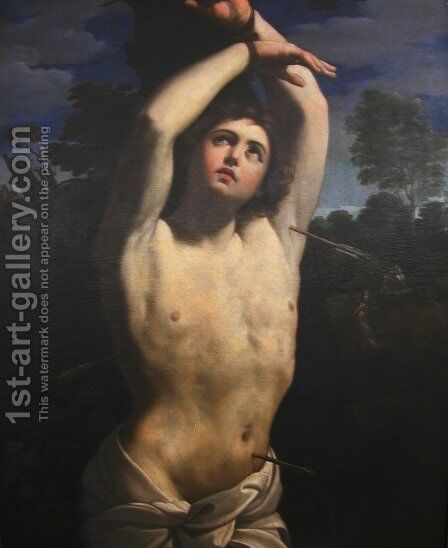 St Sebastian [detail #1] by Giovanni Francesco Guercino (BARBIERI) - Reproduction Oil Painting