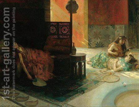 Harem Scene by Henry Siddons Mowbray - Reproduction Oil Painting