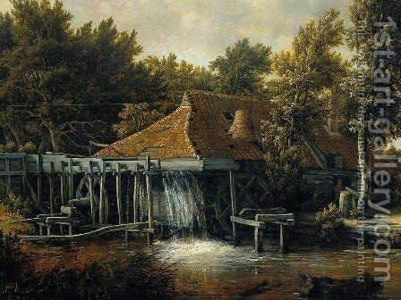 A Water Mill [detail #1] by Meindert Hobbema - Reproduction Oil Painting